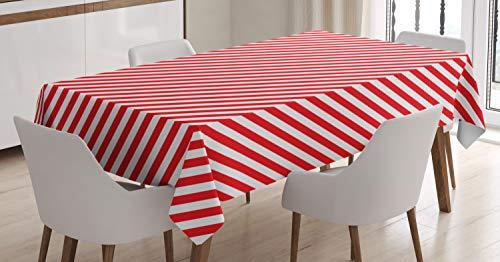 ABAKUHAUS bastón de Caramelo Mantele, Líneas Rojas diagonales, Estampado con la Última Tecnología Lavable Colores Firmes, 140 x 200 cm, Rojo Blanco