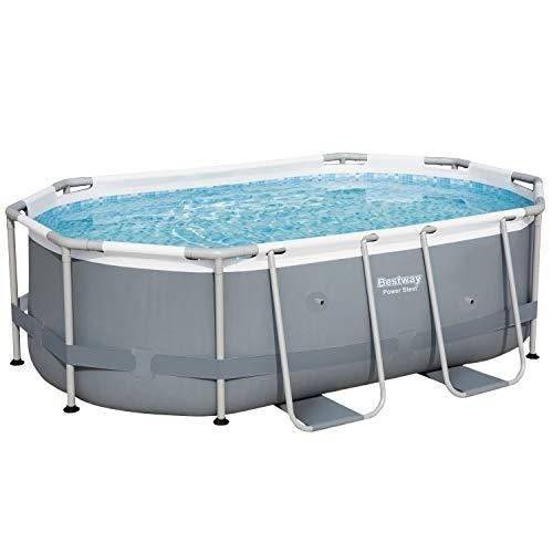 Bestway Power Steel Frame-Pool, 300 x 200 x 84 cm, oval, grau, 3.668 Liter, ohne Pumpe und Zubehör, Ersatzteil, Ersatzpool