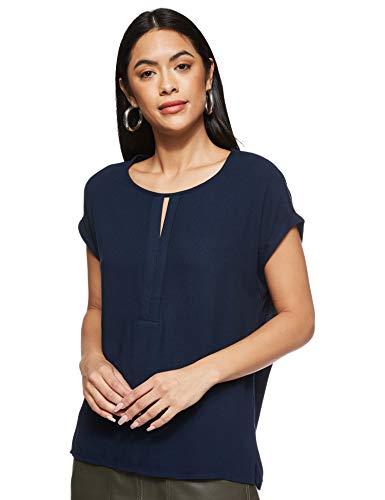 TOM TAILOR Damen T-shirt Halbarm aus Chiffon T Shirt, Sky Captain Blue, XXL EU