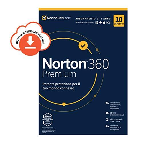 Norton 360 Premium 2020| 10 Dispositivi Licenza di 1 Anno| Secure VPN e Password Manager PC, Mac, Tablet e Smartphone| Codice d'attivazione via Email