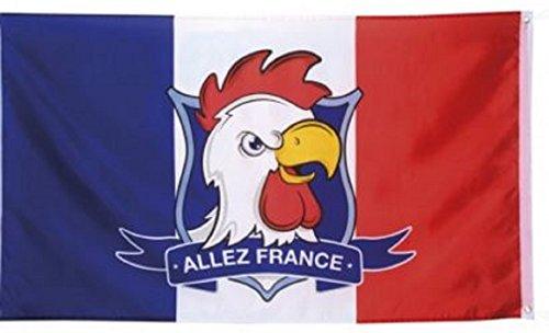 Lot de 3 Drapeaux Coq Francais ALLEZ FRANCE