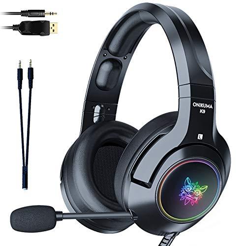 SHANGH New K9 Black Demon Version Ear Gaming Headphones With Mic RGB Luminous Mobile Phone Computer Noise Reduction Headset