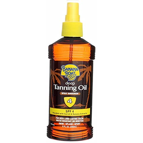 Banana Boat Deep Tanning Spray with Coconut Oil SPF 4, 8 Ounces each (Value Pack of 5)