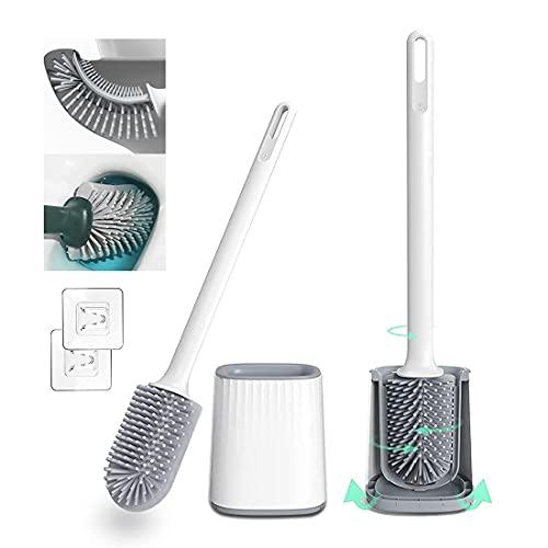 MoreCro® Toilettenbürste Set, Bahnbrechender Dreiseitiger Bürstenkopf, Silikon WC-Bürste & Behälter, Klobürste & WC-Bürstenhalter für Badezimmer, Wandmontage und Stehen (Weiß)