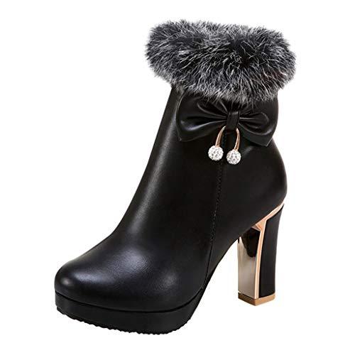 Fenverk Damen Stiefeletten Boots Flandell Reißverschluss/Ankle Boots Damen/Stiefellette Frauen/Plato/Boots Blockabsatz/Spitze Stiefeletten Damen/Damen Stiefeletten Leder Schwarz(Schwarz,36 EU)