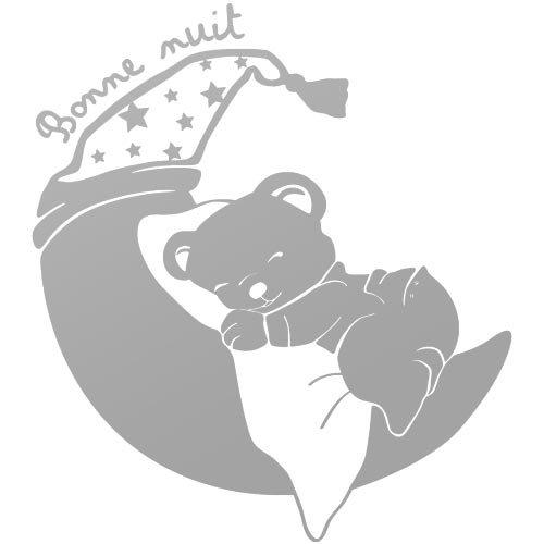 sticker petit ourson rêveur Argent 65x73 cm