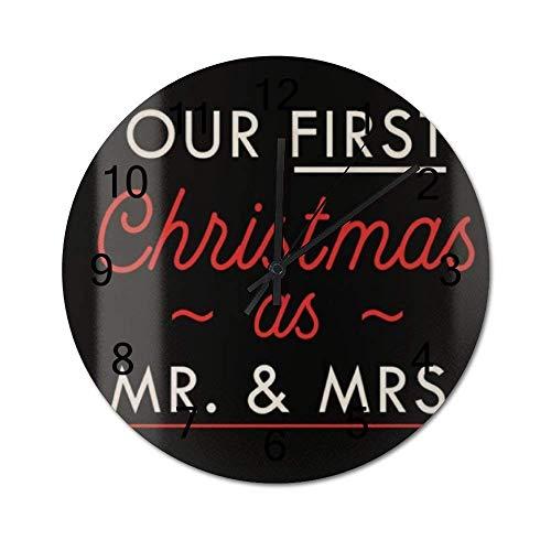 Reloj de Pared de Madera Redondo rústico silencioso sin tictac de 10 Pulgadas Nuestra Primera Navidad como el Sr. y la Sra. Vintage Farmhouse Decoración de Pared para el hogar, la Oficina, la Escuela
