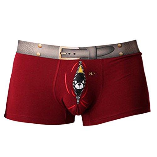 Vividda Uomo sexy modale shorts Intimo uomini pugili mutande slip morbidi con stampa uccello Divertente Medium Borgogna