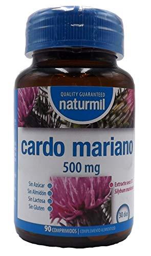 Cardo Mariano 500 mg 180 comprimido (dos botes de 90) sin aditivos, extracto seco de Silimarina, depurativo limpiador y desintoxicante natural para el hígado.