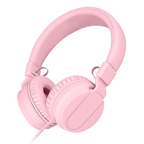 SFBBBO Headset Luxus-Kopfband Kabelgebundene Kopfhörer mit tragbarem faltbarem On-Ear-Headset mit Mikrofon für Telefone.I35pink