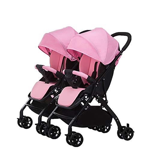 QINJIE Twin Baby Stroller Detachable Lightweight Sentado Reclinable Cochecito de Amortiguador de Choque,Rosado