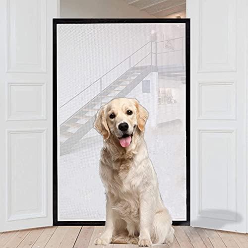 2 szt. magiczna bramka dla psów, przenośna brama bezpieczeństwa składana siatka schodowa, domowe bramy dla psów + bariery samochodowe dla psów, składane bramki dla zwierząt domowych pasuje do większości drzwi wewnętrznych i zewnętrznych bezpieczna oc