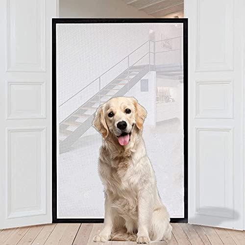 AOSIKA Magic Gate for Dogs, Portable Safety Gate Folding Mesh Stair Gate 180cm X 72cm Fits Most Interior and Exterior Doors Safe Guard for Dogs Cats Babies