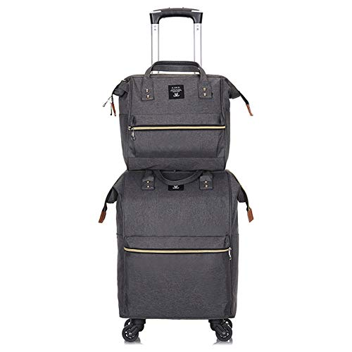Adlereyire Laptop Trolley Bag Large-Capacity Stylish Lightweight Duffel Bag Convenient Rollers Waterproof Wear-Resistant Protection (Color : Gray, Size : 20-inches)
