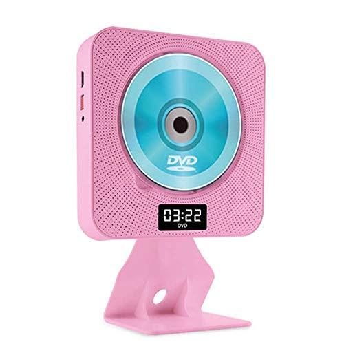 ZXK 内蔵のデュアルスピーカー壁掛け式CDプレーヤー、家庭用DVD HD DVDプレーヤーのBluetoothリピータ英語学習CDプレーヤースマートブルートゥース、 ファッション (色 : Pink)