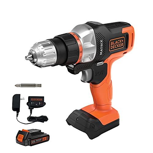 black decker electric drills BLACK+DECKER 20V MAX Matrix Cordless Drill/Driver (BDCDMT120C), Drill Kit (Orange)