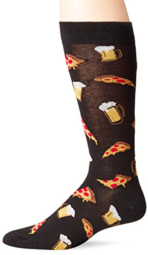 K. Bell Men's Food and Drink Casual Novelty Crew Socks, Pizza and Beer (Black), Shoe Size: 6-12