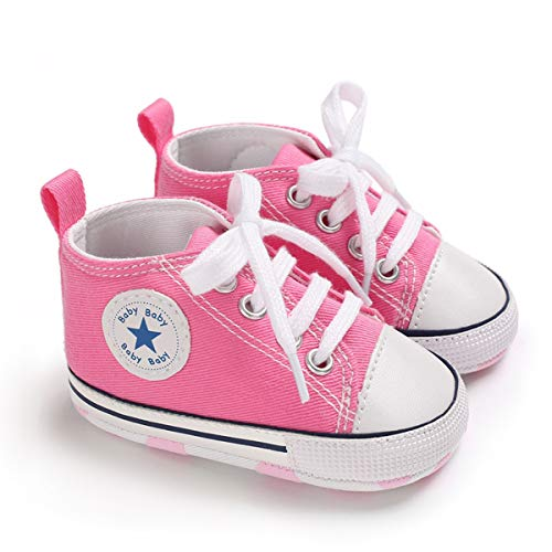 DEBAIJIA Bebé Primeros Pasos Zapatos de Lona6-12M NiñosAlpargata Suave Antideslizante Ligero Slip-on 18 EU Rosa (Tamaño Etiqueta-2)