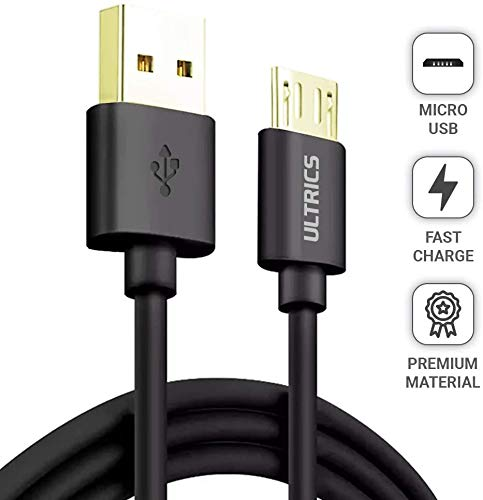 ULTRICS Cable Micro USB, 3m Carga Rápida Alta Velocidad Sincronización de Datos Cable de Cargador Compatible con Samsung S6/S7 Edge, LG, OnePlus, OPPO Android Teléfonos Inteligentes y Más – Negro