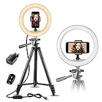 10 tiktok luce per selfie con treppiede estensibile da 50 e supporto smartphone per foto/youtube, sunup luce ad anello led per telefono e video, compatibile con iphone/android(usb caricabatterie)