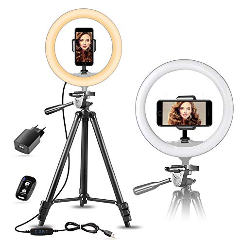 "10"" Tiktok Luce per Selfie con Treppiede Estensibile da 50"" e Supporto Smartphone per Foto/Youtube, SUNUP Luce ad Anello LED per Telefono e Video, Compatibile con iPhone/Android(USB Caricabatterie)"