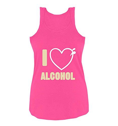 Comedy Shirts - I Love Alcohol - Herz - Damen Tank Top - Pink/Beige-Weiss Gr. L