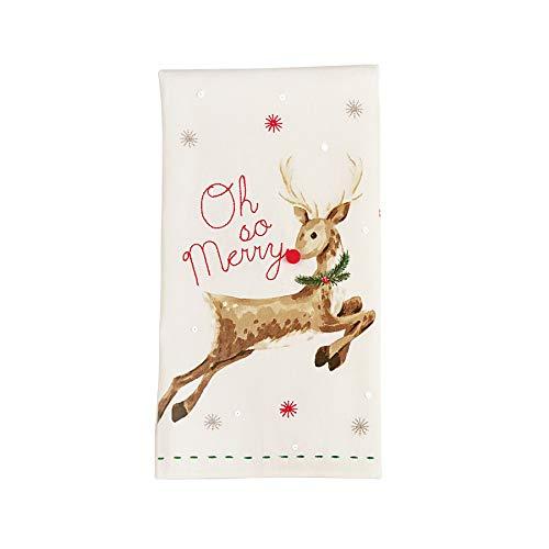 "Mud Pie Christmas Saint Nicholas Holiday Sequin Hand Towel 28"" x 21"" 41500035 (Reindeer)"