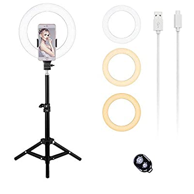 """Selfie Ring Light Cell Phone Holder   Tripod Stand Desktop Led Ring Light 10"""" Camera Light Adjustable with Remote Control Photography for Live Stream & Makeup [2020 Upgrade Version] by YCYOUPIN"""
