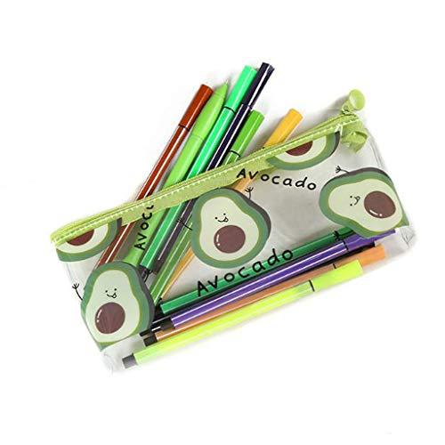 Estuche Estuche de lápices estuche lapices Caja de papelería de aguacate,bolsa de papelería para niños,estuche transparente de gran capacidad para estudiantes,bonita bolsa de papelería (dos piezas)