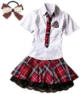(fesley)赤チェック 白シャツ コスプレ 衣装 髪飾り 付 コスチューム(S)