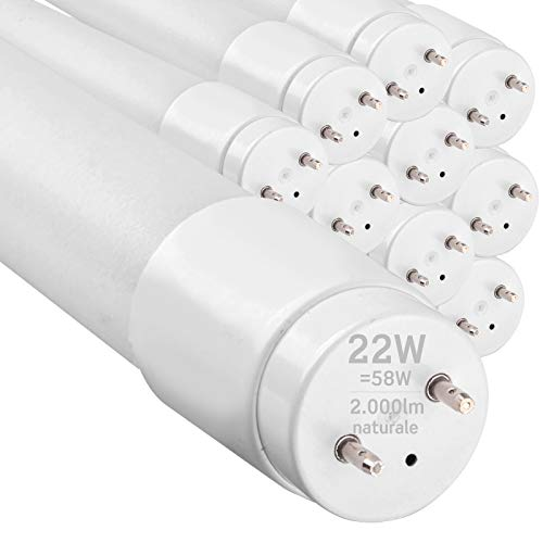 10x Tubi LED 150cm G13 T8 22W Professionale Garanzia 5 Anni 2000 lumen - Luce Bianco Naturale 4000K - Fascio Luminoso 160° - Sostituzione Neon