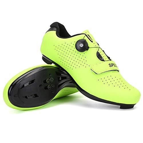 xxinaishan サイクルシューズ SPD/SPD-SL両対応 自転車靴 自転車シューズ 耐摩耗性 通気性 快速靴紐 初心者 XNS-569 (グリーン, measurement_23_point_5_centimeters)
