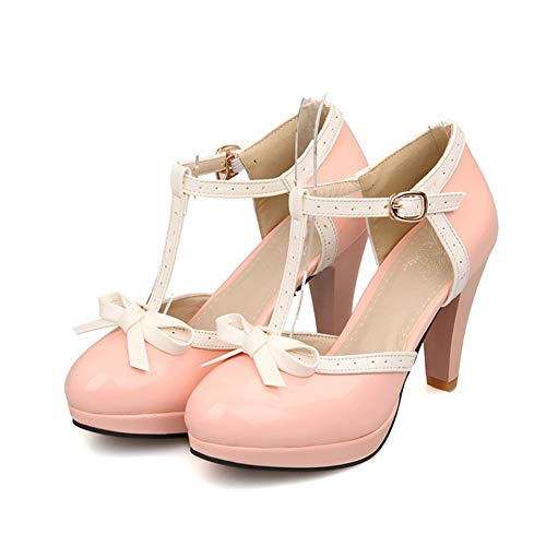 Desirepath Women's Round Toe Color Block High Heel Mary Jane Style Sweet Dress Pumps Pink
