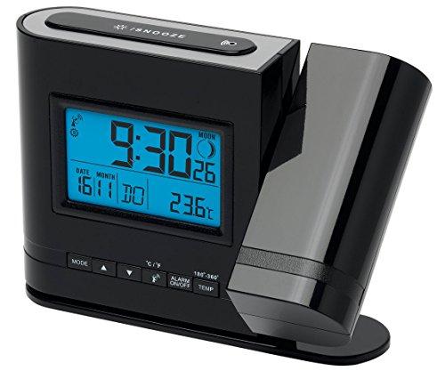 MEDION Projektions-Funkuhr (MD13331) LC Display mit blauer Hintergrundbeleuchtung, Integrierter Bewegungssensor, Projektion der Uhrzeit, Anzeige der Mondphase, eckig, schwarz