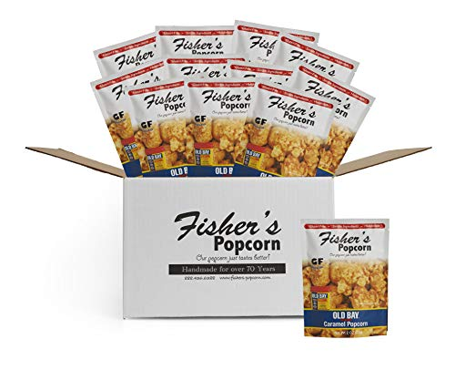 Fisher's Popcorn Old Bay Seasoned Caramel Popcorn, Gluten Free, Simple Ingredients, Handmade, No Preservatives, Zero Trans Fat, 2oz Bags (Pack of 12)