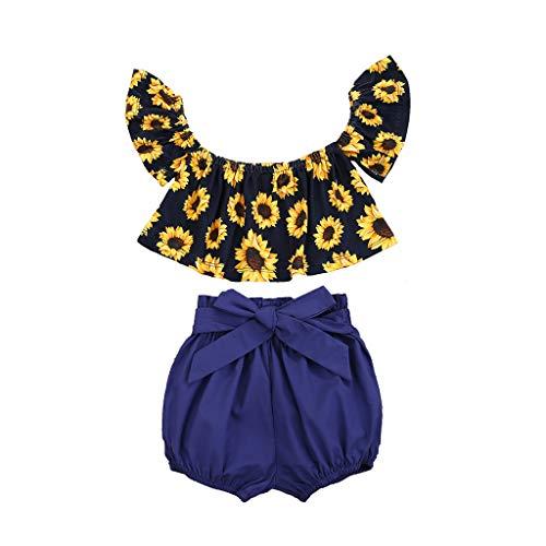 Combinaison Enfant Deux pièces Manches volantées imprimé Tournesol T-Shirt Noeud Papillon,Toddler Kids Baby Girls T-Shirt imprimé Tournesol Bow Shorts Outfits Set
