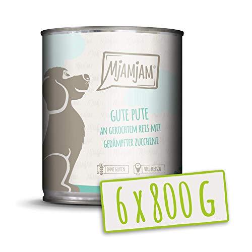 MjAMjAM - Premium Nassfutter für Hunde - Gute Pute an gekochtem Reis mit gedämpfter Zucchini, 6er Pack (6 x 800 g), naturbelassen mit extra viel Fleisch