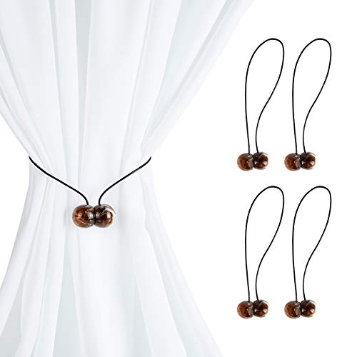 Okuna Outpost Magnetic Round Buckle Curtain Tiebacks, Brown Holdbacks for Drapes (17 in, 2 Pairs)