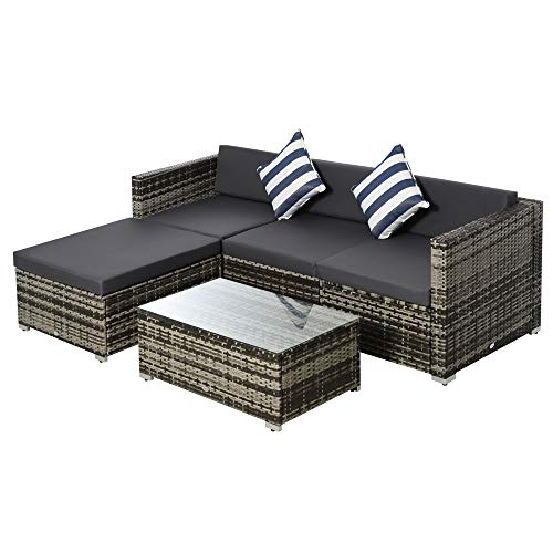 Outsunny 5PC Rattan Furniture Set Garden Outdoor Sectional Sofa Coffee Table Combo Patio Furniture Metal Frame w/Cushion Pillows Mixed Grey
