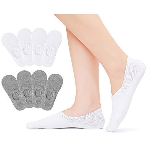 Falechay Sneaker Socken Damen 35-38 Füßlinge Unsichtbare Sneaker Socken Baumwolle Atmungsaktiv mit Silikon Grip rutschsicher 8 Paar Weiß&Grau 35-38