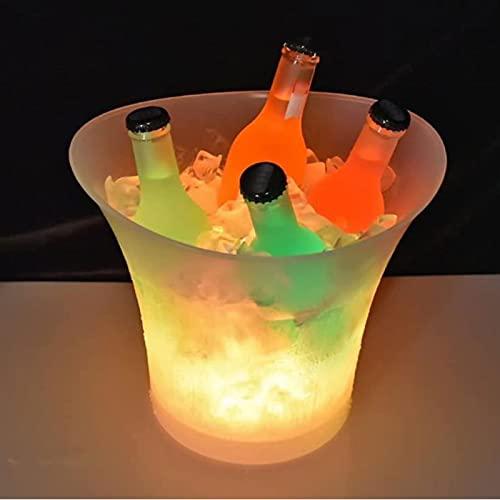 SHUKUILIUDT Cubitera Cubos de Hielo LED,Cubo de Hielo Transparente de 5 litros,Colores Que cambian el Cubo refrigerador,Botellas de Cerveza de Vino de champán,sostiene 4 Botellas Completo.