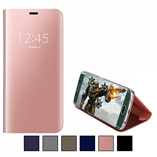 COOVY® Cover für Samsung Galaxy S7 SM-G930F SM-G930 Bookstyle, metallic Optik, Clear View, luxuriöses, durchsichtiges Spiegel Fenster Case, Standfunktion | Farbe Rosegold