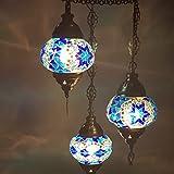 Marrakesch - Lámpara de techo (90 cm, cristal de mosaico, 90 cm), diseño oriental
