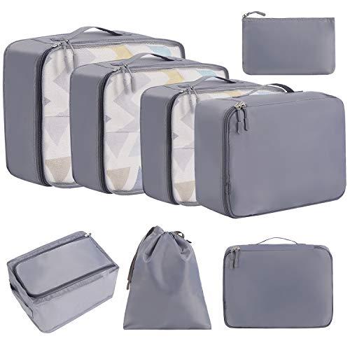 Eono by Amazon - 8 Set Cubos de Embalaje, Organizadores para Maletas, Travel Packing Cubes, Equipaje de Viaje Organizadores, con Bolsa de Zapatos, Bolsa de Cosméticos y Bolsa de Lavandería, Gris