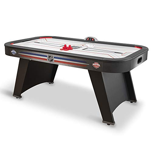"""EastPoint Sports 72"""" Mid-Size Air Attack Indoor Hover Hockey Table with Power Corner Inserts, GlazeTek Surface, LED Scoring and Sounds, Black"""