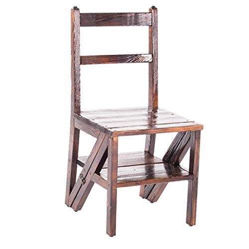 N&O Step Stool for Adults 3 Tier Ladder Transforming Folding Fold up Stepladder Backrest Wood St