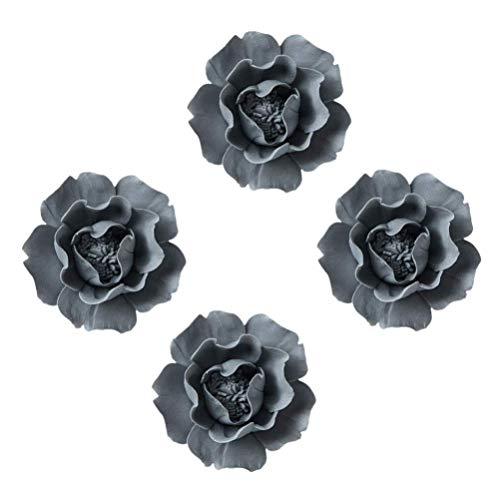 ZhenHe Packung mit 4 Keramik Blumen Nahtlose Nagel 3D Wandverzierung Gefälschte Blumen-Anhänger-Dekor for Home Office Dekorationen