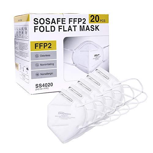 SOSAFE 20 Stück FFP2 Mundschutz Maske perfekt für Mund- und Nasenschutz Schutzmaske Atemschutzmaske 4-lagig