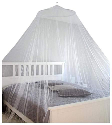 AMANKA Moustiquaire 12m Ciel de lit Double Berceau en Tissu de Polyester Transparent Blanc 180 Mailles pour 6,45cm² OMS Standard + Sac de Transport
