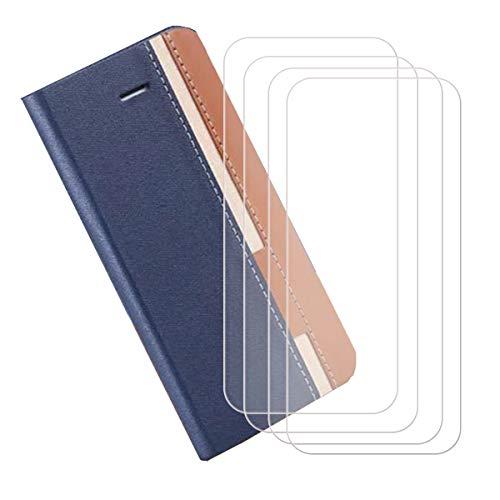 """YZKJ Funda para Xiaomi Redmi Note 9 Pro (6.67"""") + [4 Piezas] Cristal Templado Protector de Pantalla Cover Flip Folio Case PU Cuero Caso Función de Soporte Billetera Tapa Carcasa - Azul"""